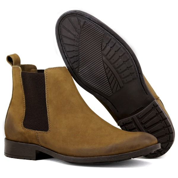 Botina Chelsea Masculina Linha Urban Boots Em Couro Nobuck Caramelo