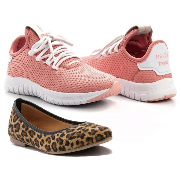 Kit Tênis Antiderrapante + Sapatilha Feminino Sporty Chic Pink