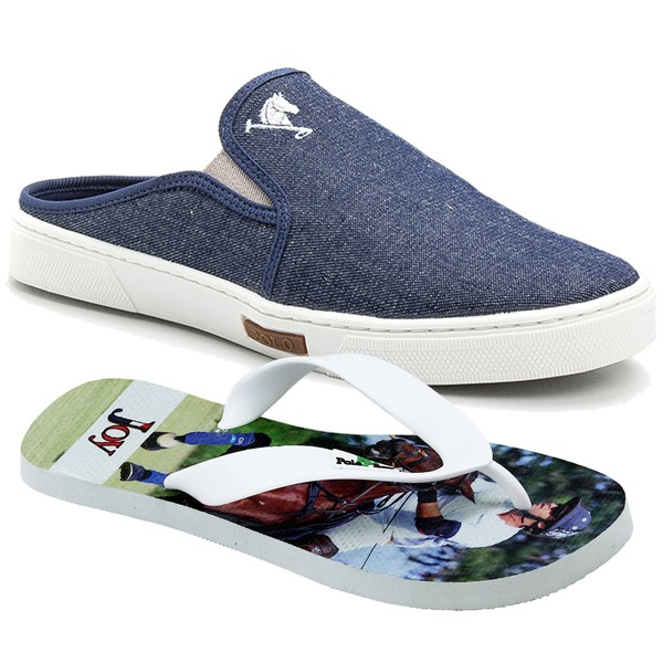 Kit Babuche Slip On Mule Polo Joy Com Chinelo Casual Jeans