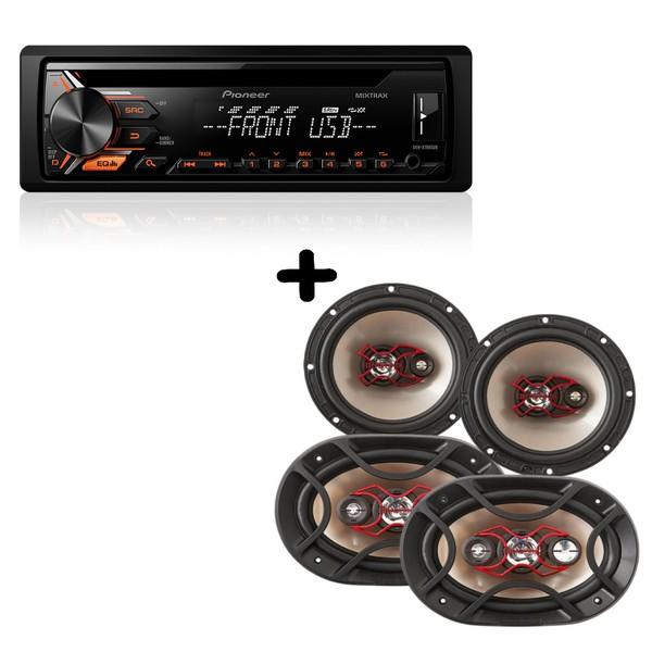 KIT090 Combo Som Pioneer + Kit Falantes Bravox - Dehx1980ub + B3x60xb4x69x