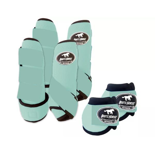 Kit Completo Boots Horse Color Cloche e Caneleira Dianteiro e Traseiro - Verde água