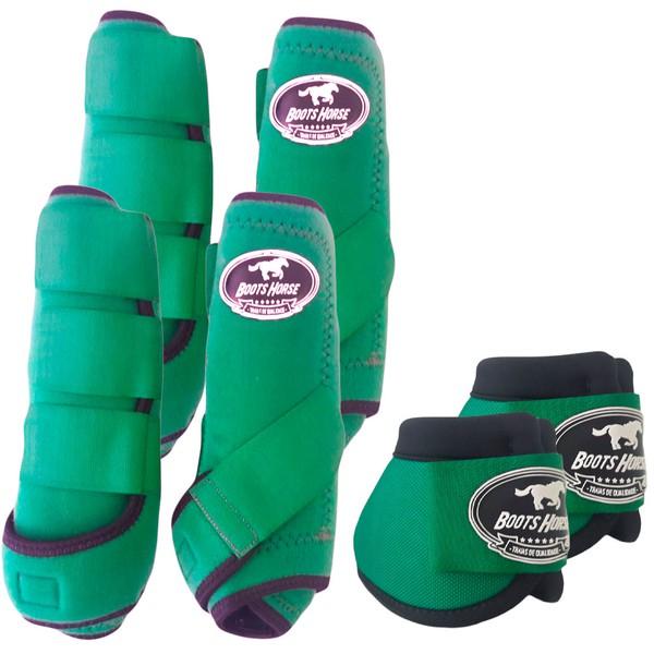 Kit Completo Boots Horse Color Cloche e Boleteira Dianteira e Traseira - Verde Escuro