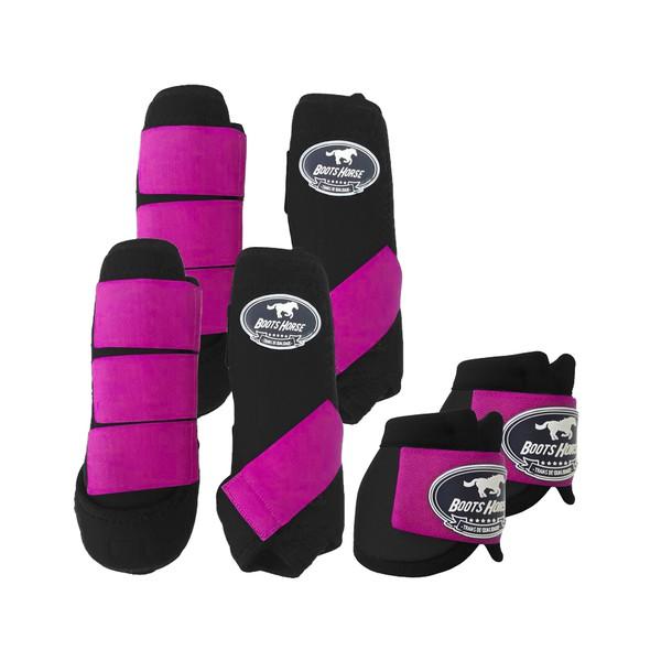Kit Completo Boots Horse Color Cloche e Boleteira Dianteira e Traseira - Preto / rosa