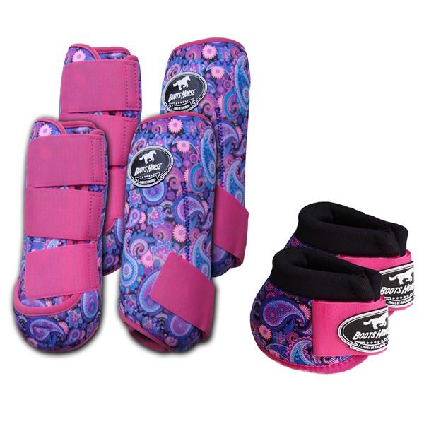 Kit Completo Boots Horse Color Cloche e Caneleira Dianteiro e Traseiro - Estampa A18 / Velcro Rosa