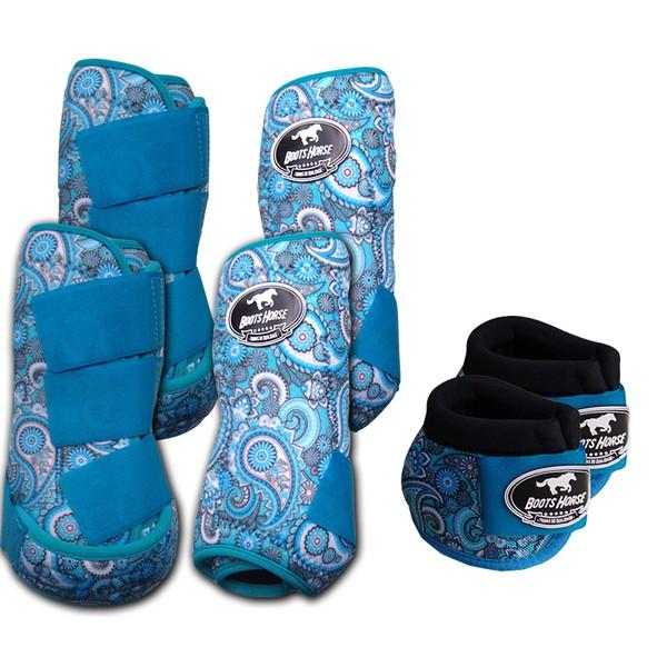 Kit Completo Boots Horse Color Cloche e Caneleira Dianteiro e Traseiro - Estampa A21 / Velcro Azul Turquesa