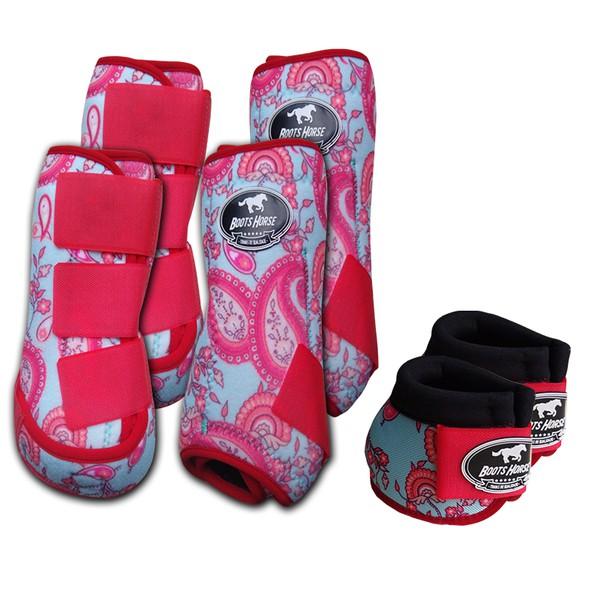 Kit Completo Boots Horse Color Cloche e Caneleira Dianteiro e Traseiro - Estampa A22 / Velcro Rosa