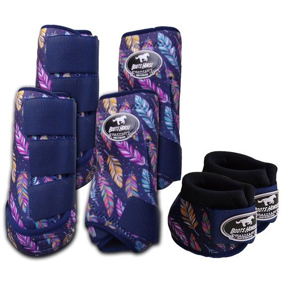 Kit Completo Boots Horse Color Cloche e Caneleira Dianteiro e Traseiro - Estampa A30 / Velcro Marinho