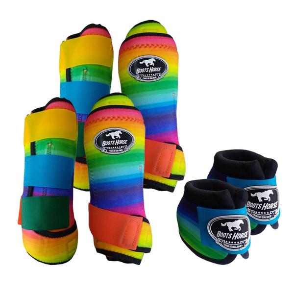 Kit Completo Boots Horse Color Cloche e Caneleira Dianteiro e Traseiro - Estampa 22 / velcro colorido