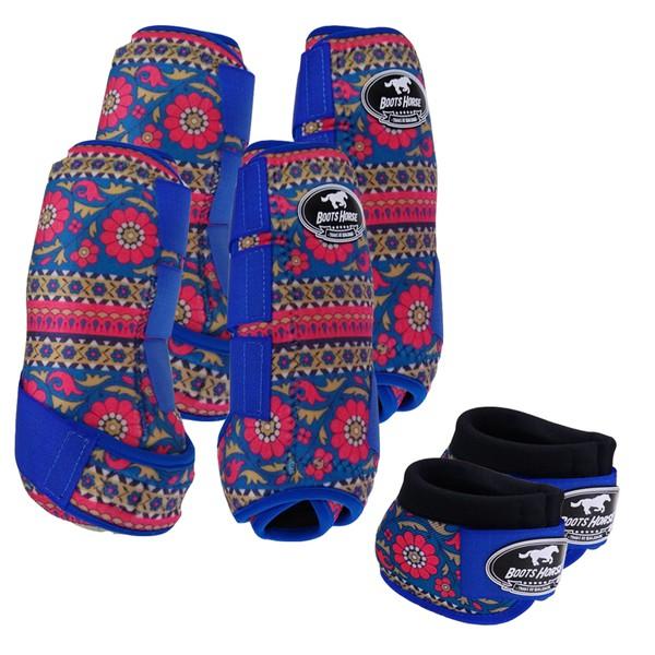 Kit Completo Boots Horse Color Cloche e Caneleira Dianteiro e Traseiro - Estampa A01 / Velcro Royal