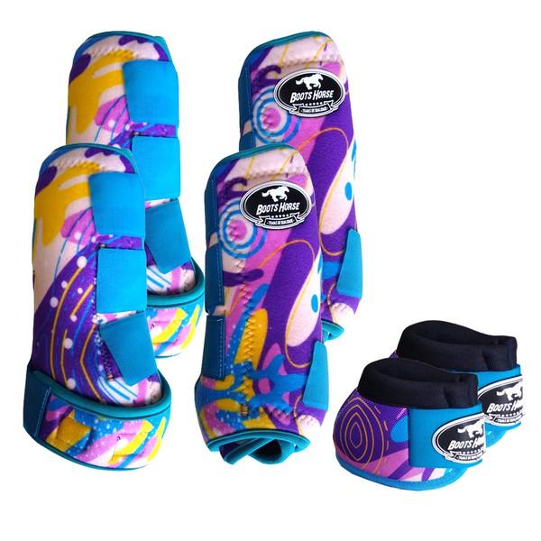 Kit Completo Boots Horse Color Cloche e Caneleira Dianteiro e Traseiro - Estampa A11 / Velcro Turquesa