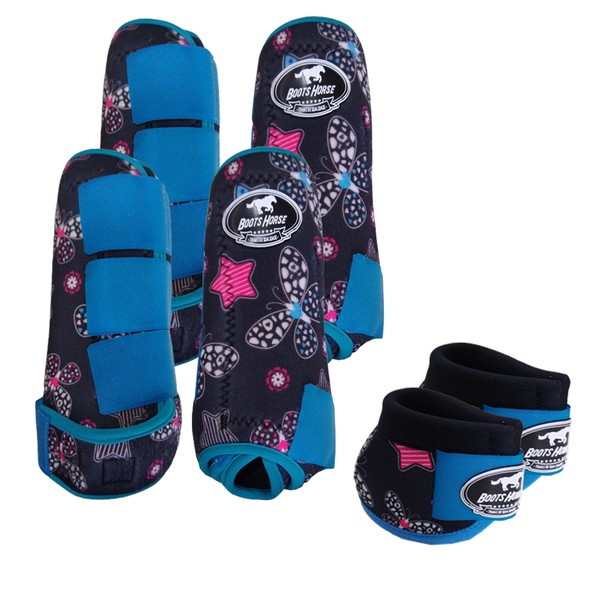 Kit Completo Boots Horse Color Cloche e Caneleira Dianteiro e Traseiro - Estampa A12 / Velcro Turquesa