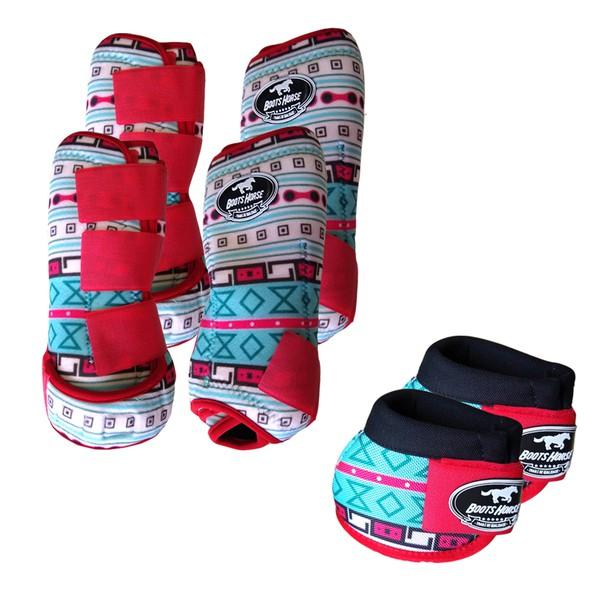 Kit Completo Boots Horse Color Cloche e Caneleira Dianteiro e Traseiro - Estampa A14 / Velcro Vermelho