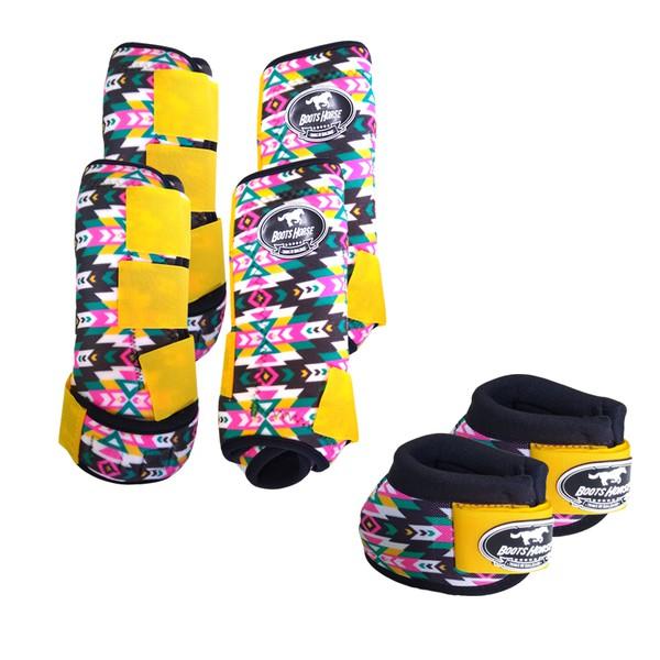 Kit Completo Boots Horse Color Cloche e Caneleira Dianteiro e Traseiro - Estampa A16 / Velcro Amarelo