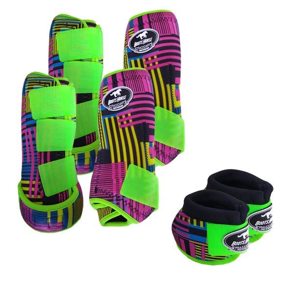 Kit Completo Boots Horse Color Cloche e Caneleira Dianteiro e Traseiro - Estampa A17 / Velcro Limão