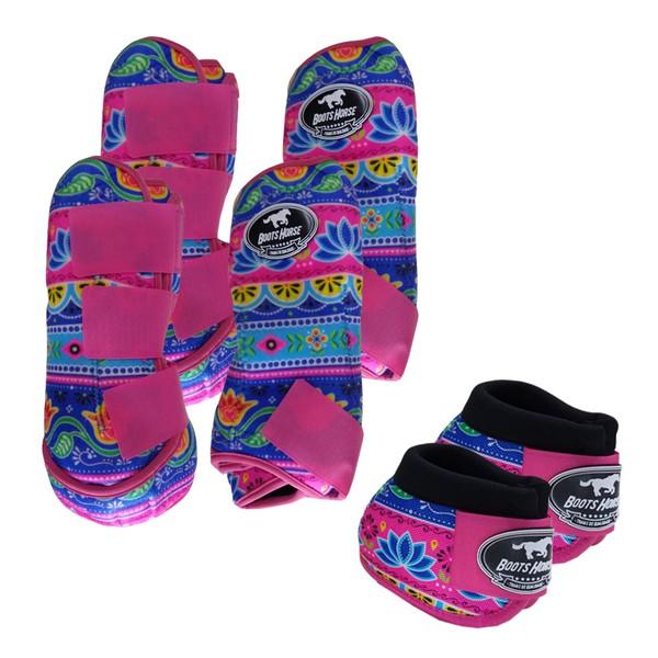 Kit Completo Boots Horse Color Cloche e Caneleira Dianteiro e Traseiro - Estampa A02 / Velcro Rosa
