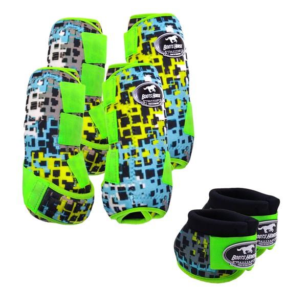 Kit Completo Boots Horse Color Cloche e Caneleira Dianteiro e Traseiro - Estampa A24 / Velcro Limão