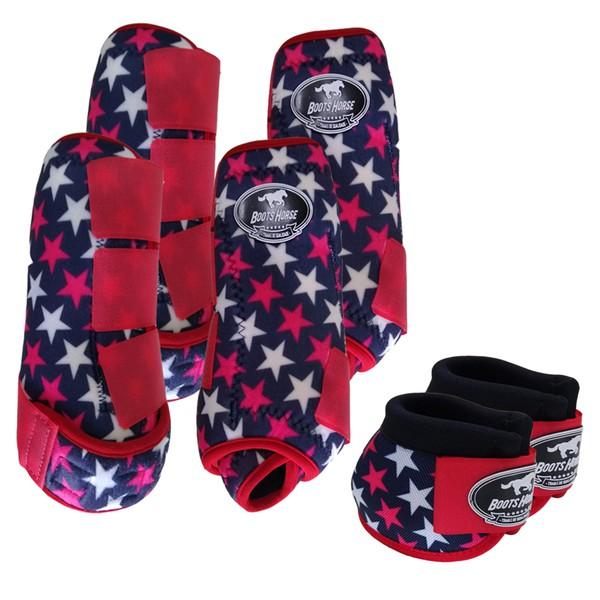Kit Completo Boots Horse Color Cloche e Caneleira Dianteiro e Traseiro - Estampa A25 / Velcro Vermelho