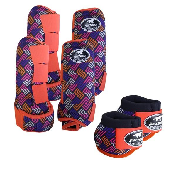 Kit Completo Boots Horse Color Cloche e Caneleira Dianteiro e Traseiro - Estampa A27 / Velcro Laranja