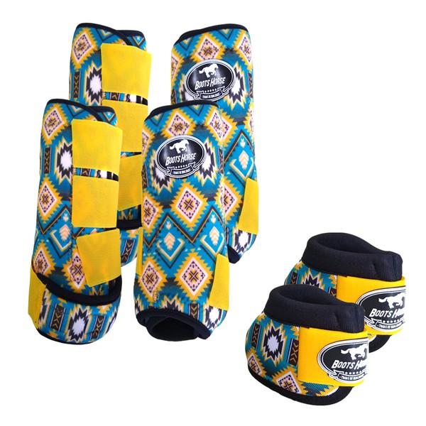 Kit Completo Boots Horse Color Cloche e Caneleira Dianteiro e Traseiro - Estampa A03 / Velcro Amarelo