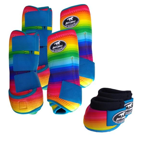 Kit Completo Boots Horse Color Cloche e Caneleira Dianteiro e Traseiro - Estampa A31 / Velcro Turquesa