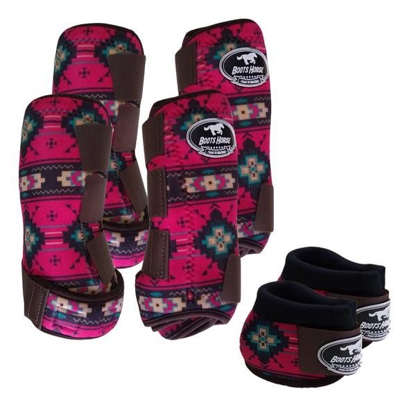 Kit Completo Boots Horse Color Cloche e Caneleira Dianteiro e Traseiro - Estampa A05 / Velcro Marrom