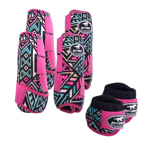 Kit Completo Boots Horse Color Cloche e Caneleira Dianteiro e Traseiro - Estampa A08 / Velcro Rosa