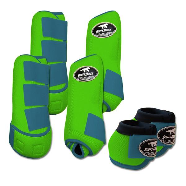 Kit Completo Boots Horse Color Cloche e Boleteira Dianteira e Traseira - Verde limão / Azul Turquesa