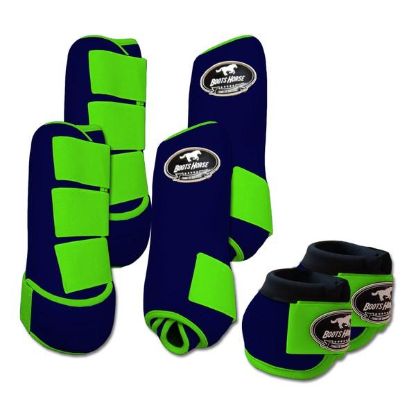 Kit Completo Boots Horse Color Cloche e Boleteira Dianteira e Traseira - Azul Marinho / Verde limão