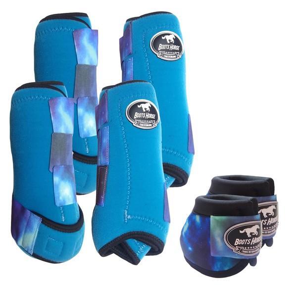 Kit Completo Boots Horse Color Cloche e Bolteira Dianteira e Traseira - Turquesa / Velcro estampa 16