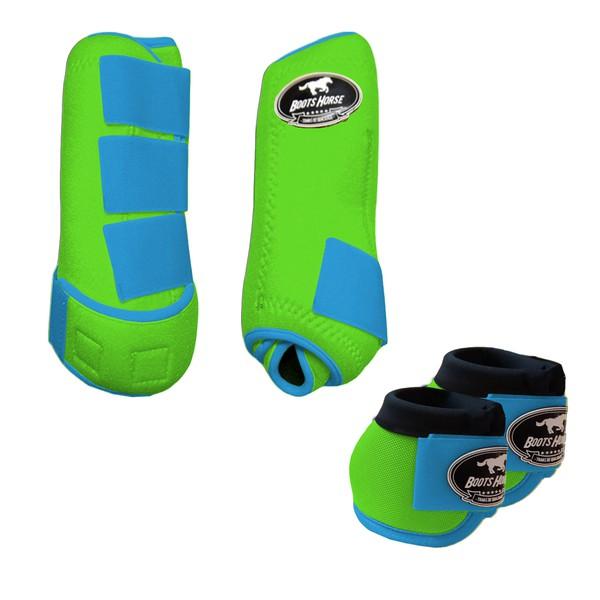 Kit Simples Color Boots Horse Cloche e Boleteira - Verde limão / Velcro Azul turquesa