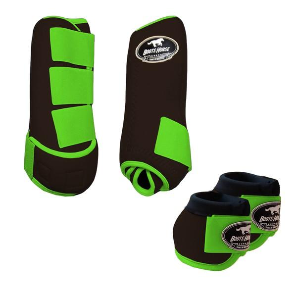 Kit Simples Color Boots Horse Cloche e Boleteira - Marrom / Velcro Verde limão