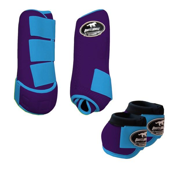 Kit Simples Color Boots Horse Cloche e Boleteira - Roxo / Velcro Azul Turquesa