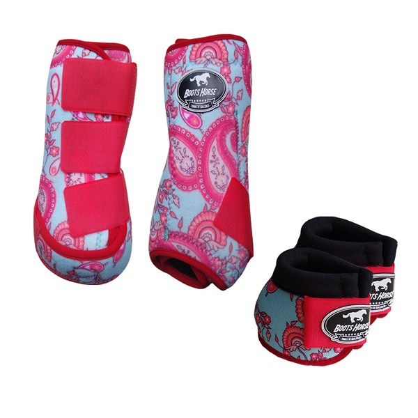Kit Simples Color Boots Horse Cloche e Caneleira - Estampa A22 / Velcro Vermelho