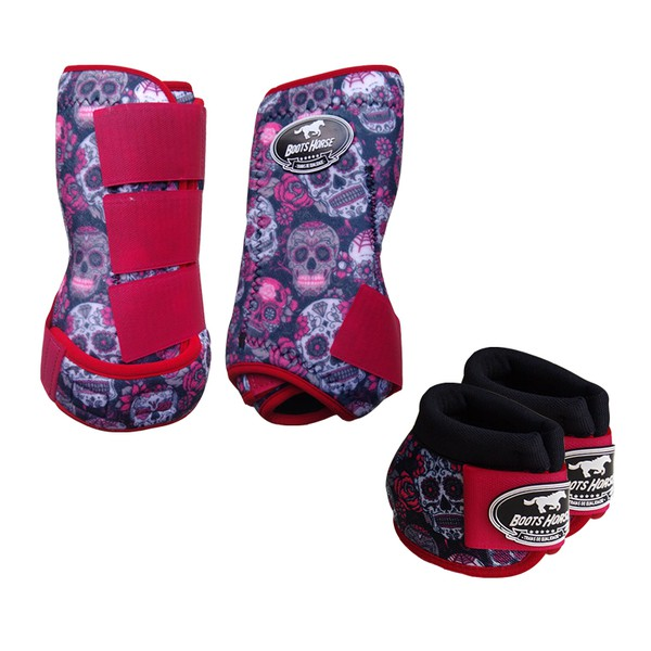 Kit Simples Color Boots Horse Cloche e Caneleira - Estampa A26 / Velcro Vermelho
