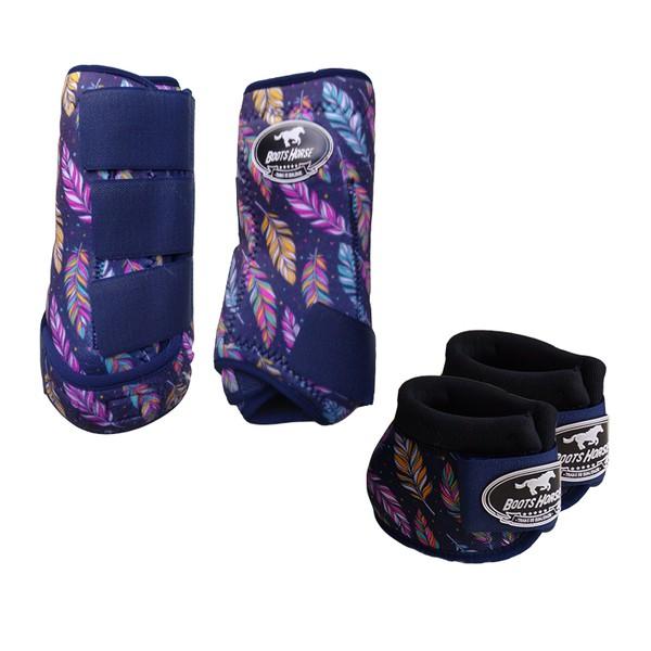 Kit Simples Color Boots Horse Cloche e Caneleira - Estampa A30 / Velcro Marinho