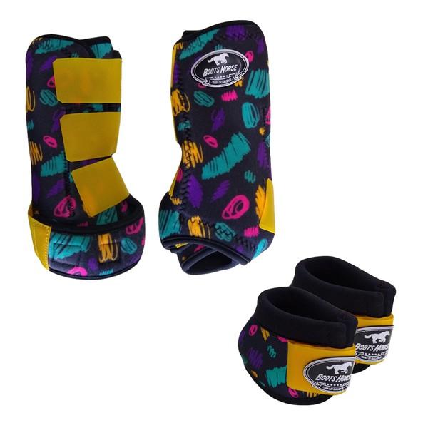 Kit Simples Color Boots Horse Cloche e Caneleira - Estampa A10 / Velcro Amarelo