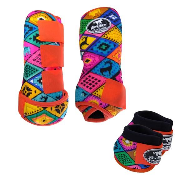 Kit Simples Color Boots Horse Cloche e Caneleira - Estampa A13 / Velcro Laranja