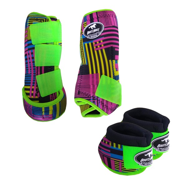 Kit Simples Color Boots Horse Cloche e Caneleira - Estampa A17 / Velcro Limão
