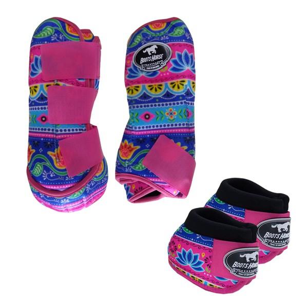 Kit Simples Color Boots Horse Cloche e Caneleira - Estampa A2 / Velcro Rosa