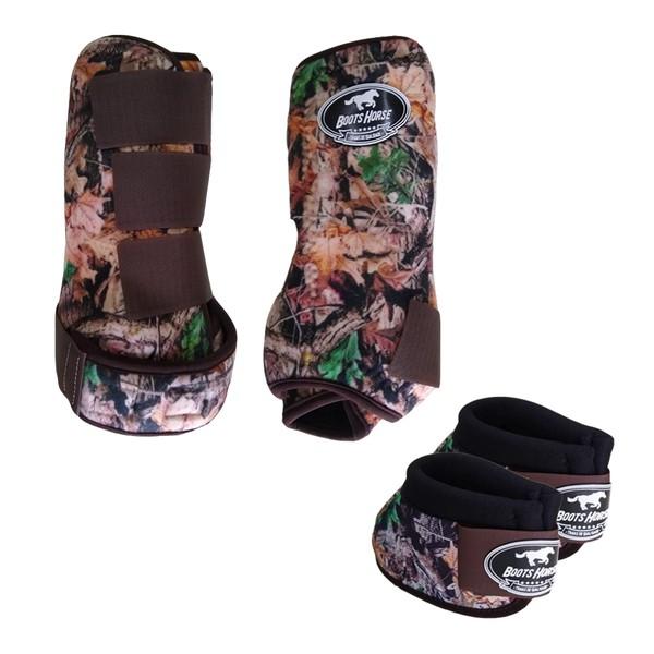 Kit Simples Color Boots Horse Cloche e Caneleira - Estampa A23 / Velcro Marrom