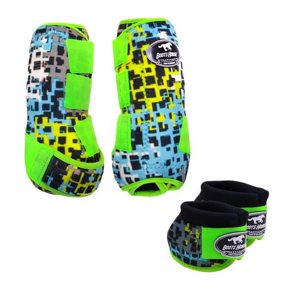Kit Simples Color Boots Horse Cloche e Caneleira - Estampa A24 / Velcro Limão