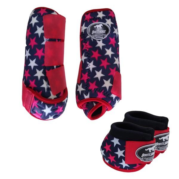 Kit Simples Color Boots Horse Cloche e Caneleira - Estampa A25 / Velcro Vermelho