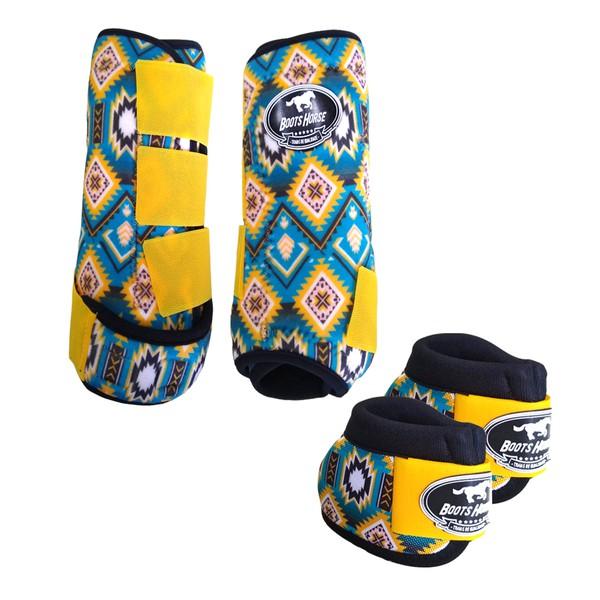 Kit Simples Color Boots Horse Cloche e Caneleira - Estampa A03 / Velcro Amarelo
