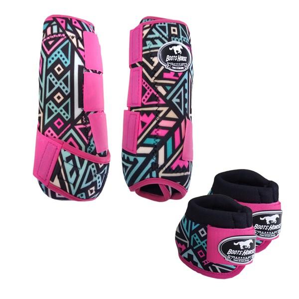 Kit Simples Color Boots Horse Cloche e Caneleira - Estampa A08 / Velcro Rosa