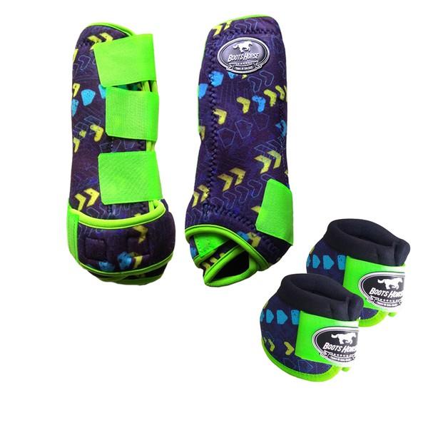Kit Simples Color Boots Horse Cloche e Caneleira - Estampa A09 / Velcro Limão