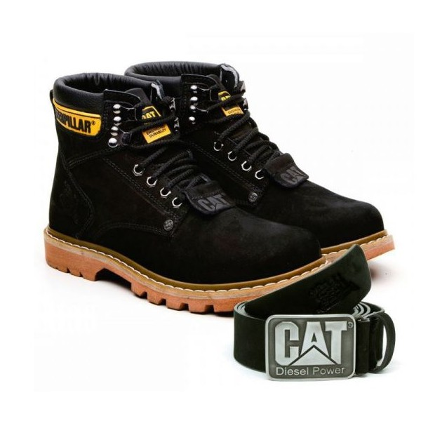 Kit Bota Caterpillar Second Shift Preto + Cinto