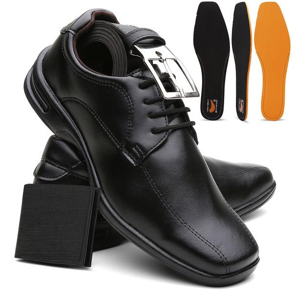 Sapato Social Masculino Confort Plus Anti-Impacto Preto + Cinto e Carteira - Lorenzzo Lopez