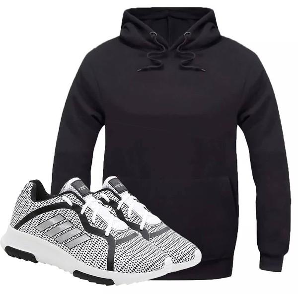 Kit Moletom Masculino Preto + Tênis Masculino Sport Cinza - Lorenzzo Lopez