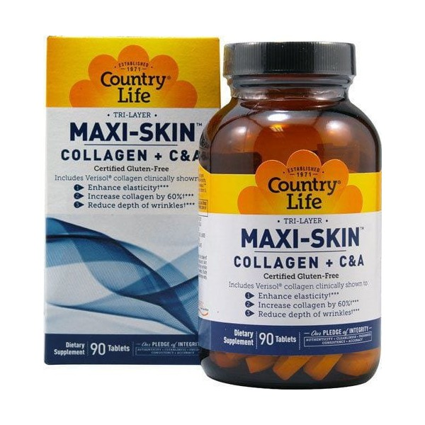 Collageno Plus C e A - Maxi-Skin Tri Layer - Country Life - 90 Tablets