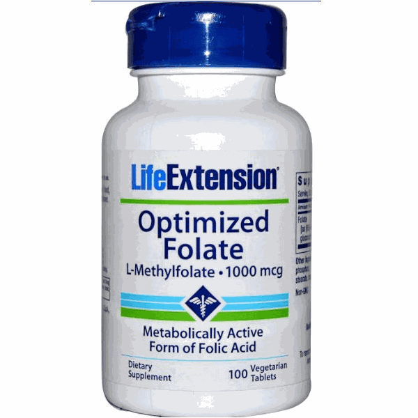 5-MTHF (5-Metiltetrahidrofolato) Optimized Folate - Life Extension, 1.000 mcg - 100 Veggie Tabs